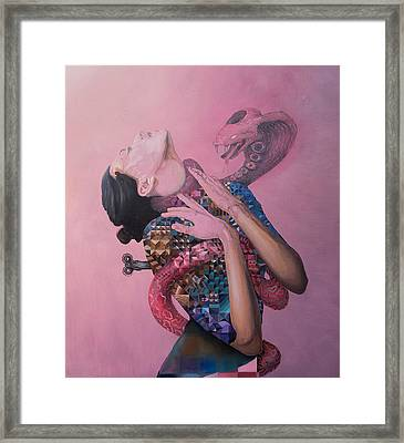 Framed Print featuring the painting Temptation by Obie Platon