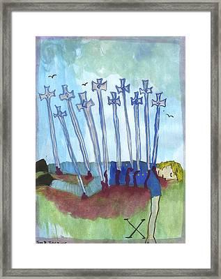 Ten Of Swords Illustrated Framed Print by Sushila Burgess