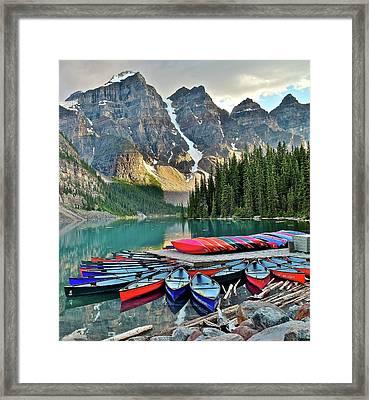 Ten Peaks And Canoes Framed Print