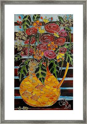 Ten Roses On A Bench Framed Print by Cornelia Tersanszki
