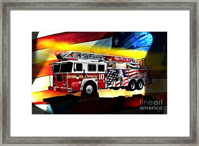 Ten Truck Fdny Framed Print by Tommy Anderson