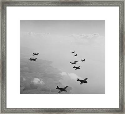 Ten Wildcats In Flight Over The Coast  Framed Print by American School