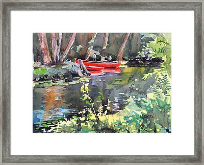 Tending The Canoes Framed Print
