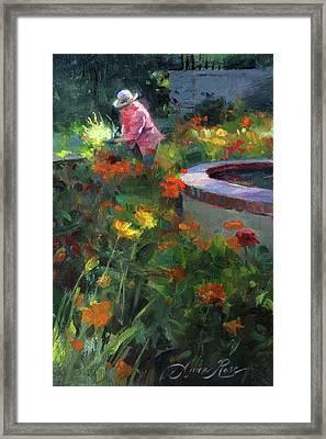 Tending The Dahlias Framed Print by Anna Rose Bain