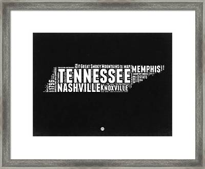 Tennessee Black And White Word Cloud  Map Framed Print by Naxart Studio