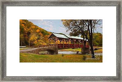 Tennessee Bridge In Autumn On The Cherohala Skyway Ap Framed Print