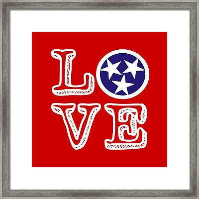 Tennessee Flag Love Framed Print by Heather Applegate