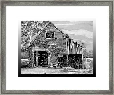 Tennessee Rustic Barn - Black And White Version Framed Print
