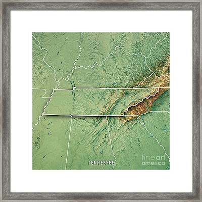 Tennessee State Usa 3d Render Topographic Map Border Framed Print