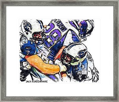 Tennessee Titans Karl Klug And Chris Hope And Minnesota Vikings Adrian Peterson Framed Print by Jack K