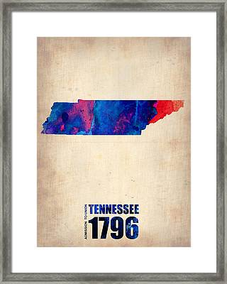 Tennessee Watercolor Map Framed Print