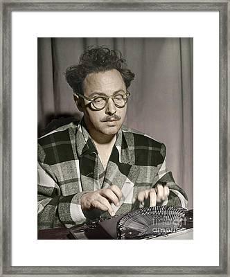 Tennessee Williams At His Typewriter Framed Print by Martin Konopacki Restoration