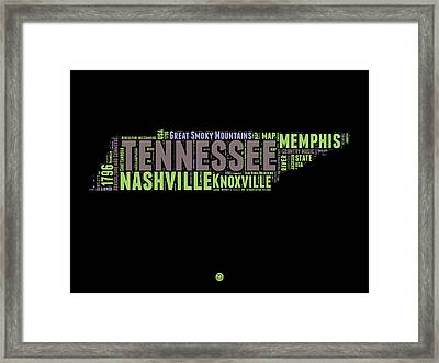 Tennessee Word Cloud Map 1 Framed Print by Naxart Studio
