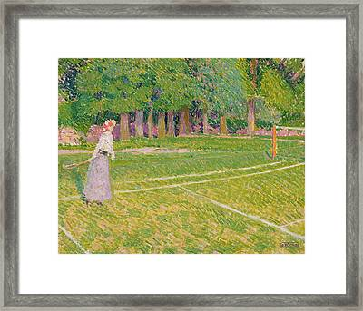Tennis At Hertingfordbury Framed Print by Spencer Frederick Gore