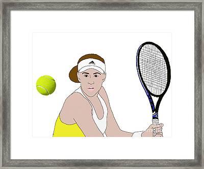 Tennis Ball Focus Framed Print by Priscilla Wolfe