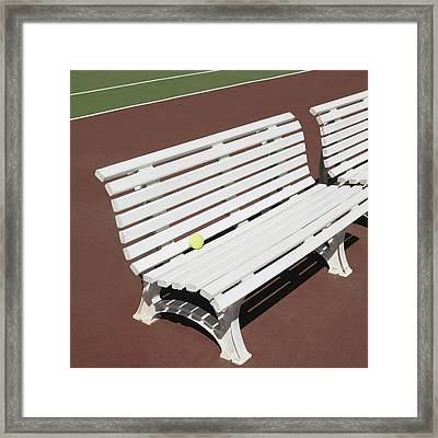 Tennis Court Benches Framed Print by Skip Nall