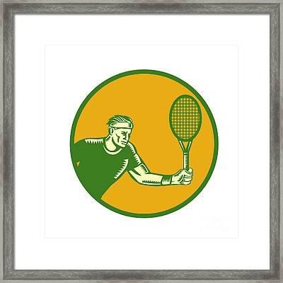Tennis Player Forehand Circle Woodcut Framed Print by Aloysius Patrimonio