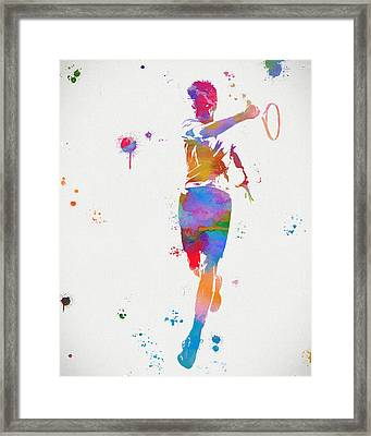 Tennis Player Paint Splatter Framed Print