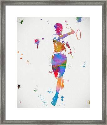 Tennis Player Paint Splatter Framed Print by Dan Sproul