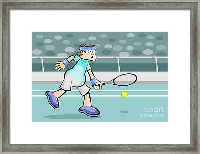 Tennis Player Rejecting The Ball Framed Print