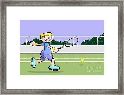 Tennis Player Runs On The Grass Court Trying To Reach The Ball Framed Print