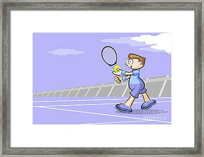 Tennis Player With Ball In Hand Ready To Make A Serve Framed Print