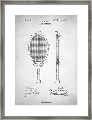 Tennis Racket Patent 1907 Framed Print by Taylan Apukovska