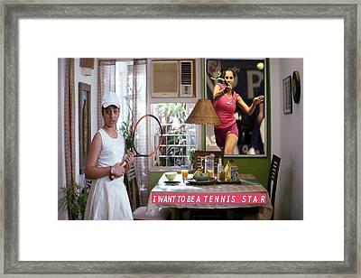 Tennis Star  Kids Room Sports Motivation Poster Framed Print