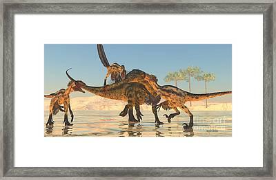 Tenontosaurus Attack Framed Print
