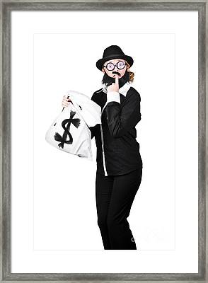 Tensed Woman Holding Money Bag Framed Print by Jorgo Photography - Wall Art Gallery