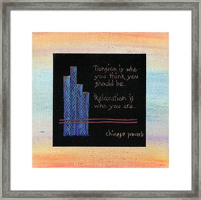 Tension Is...in Orange And Blue Framed Print by Andrea Swope