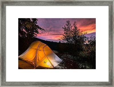 Tent At Sunset Framed Print by Michael J Bauer