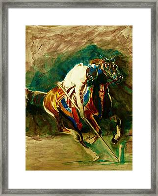 Tent Pegging Sport Framed Print by Khalid Saeed