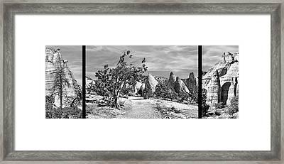 Tent Rocks - Triptych Framed Print
