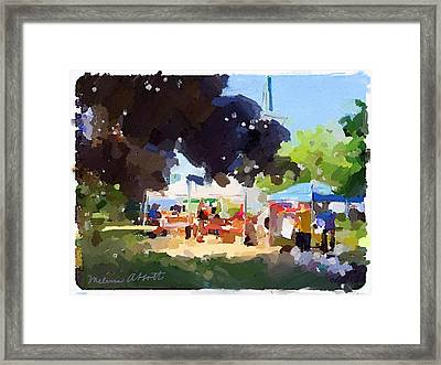 Tents And Church Steeple At Rockport Farmers Market Framed Print