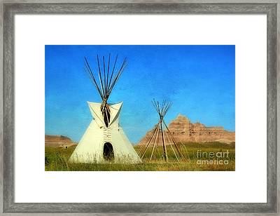 Tepee In Badlands Framed Print by Teresa Zieba