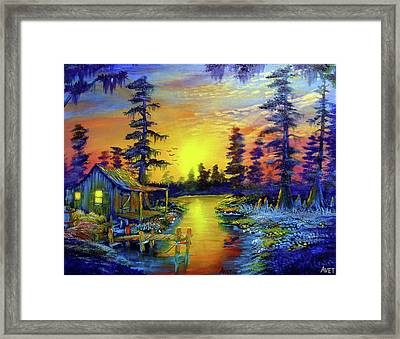 Tequila Sunrise At The Camp Framed Print