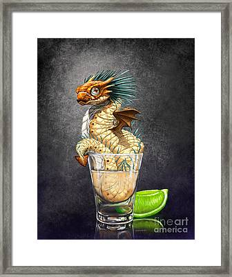 Framed Print featuring the digital art Tequila Wyrm by Stanley Morrison