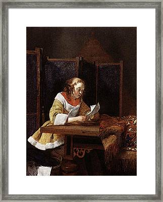 Terborch Gerard A Lady Reading A Letter Framed Print by Gerard ter Borch