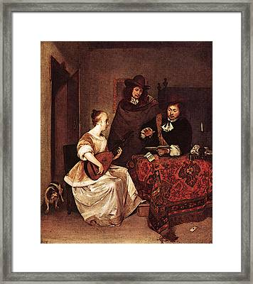 Terborch Gerard A Young Woman Playing A Theorbo To Two Men Framed Print by Gerard ter Borch