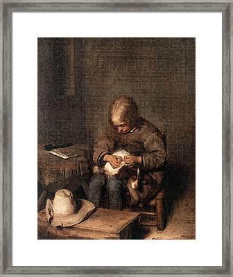 Terborch Gerard Boy Riding His Dog Of Fleas Framed Print by Gerard ter Borch