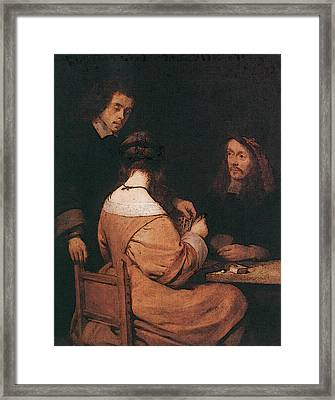 Terborch Gerard Card Players Framed Print by Gerard ter Borch