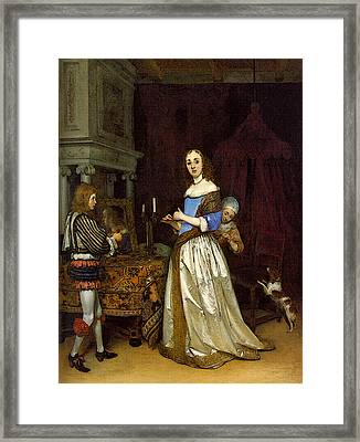 Terborch Gerard Lady At Her Toilette Framed Print by Gerard ter Borch