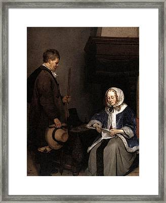 Terborch Gerard Lady Reading A Letter  Framed Print by Gerard ter Borch