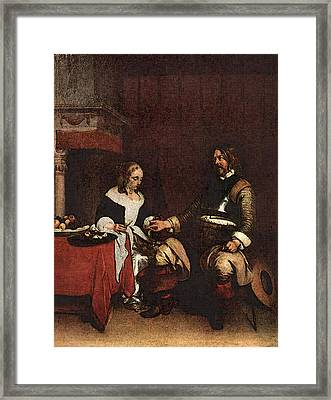 Terborch Gerard Man Offering A Woman Coins Framed Print by Gerard ter Borch