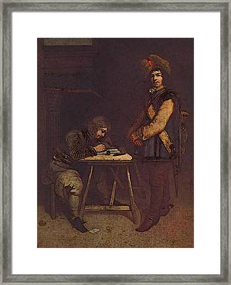 Terborch Gerard Officer Writing A Letter Framed Print by Gerard ter Borch