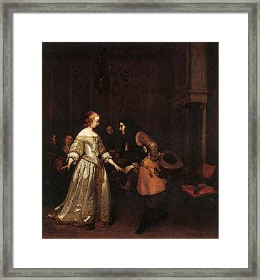 Terborch Gerard The Dancing Couple Framed Print by Gerard ter Borch