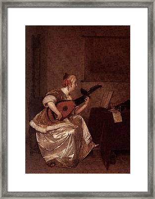 Terborch Gerard The Lute Player  Framed Print by Gerard ter Borch