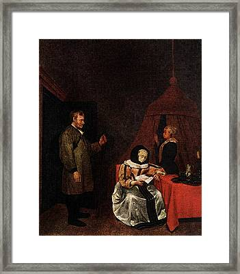 Terborch Gerard The Message Framed Print by Gerard ter Borch