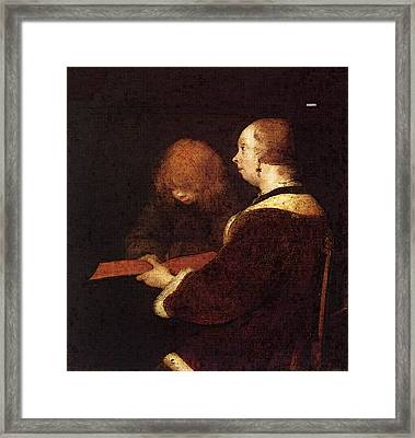 Terborch Gerard The Reading Lesson Framed Print by Gerard ter Borch